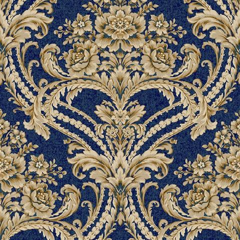BQ3892 Blue And Gold Baroque Floral Damask Wallpaper