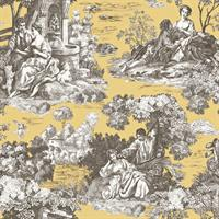 Enchanted Golden Toile Wallpaper
