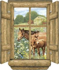 Log Window - Horses