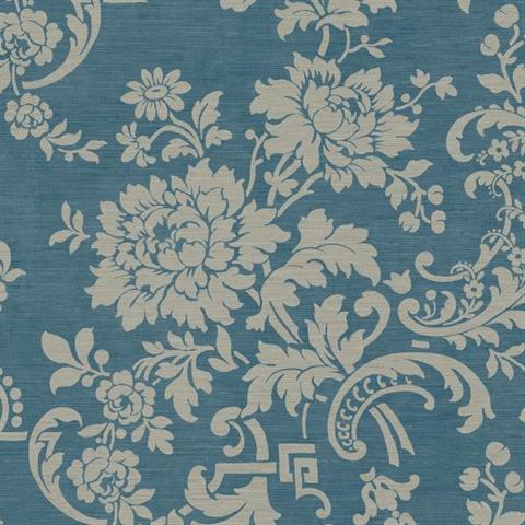 JR5736 Royal Blue Silk Floral Wallpaper