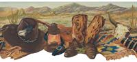 Southwest Cowboy Boots Wallpaper Border